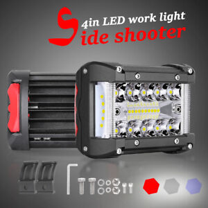 2x 4 300w Led Pods Light Bar Tri Row Spot Flood 6000k Off Road Side Shooter