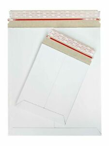 800 White Cardboard Envelope Stay Flat Photo Mailers 12 75 X 15 Tear Tab 28pt