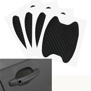 4pcs 3d Carbon Fiber Car Door Handle Anti Scratch Protective Cover Trim Sticker