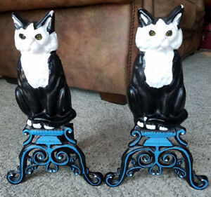 Figural Cast Iron Black White Cat Painted Fireplace Andirons Glass Marble Eyes