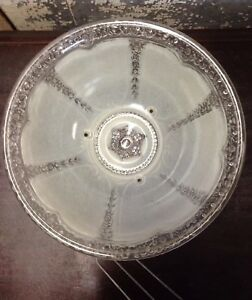Antique Vintage Ornate Frosted Glass Shade Ceiling Light Art Deco
