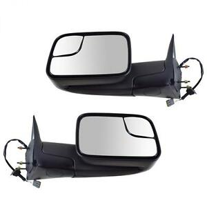 For 94 97 Dodge Ram Pickup Power Adjusted Towing Mirrors Black Pair W bracket