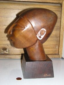 Signed J Pinal Carved Wood Bust Wooden Carving Mayan Ethnic Figure