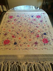 Antique Embroidered Japanese Chinese Silk Shawl