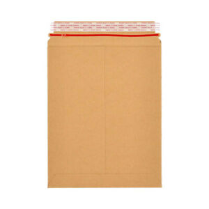 100 Stay Flat Rigid Cardboard Mailers 9 75 x12 25 W Tear Tab 28pt Brown Kraft