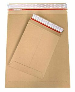 Brown Cardboard Envelopes Stay Flat Photo Mailers 9 75 x12 25 Tear Tab 28pt 800