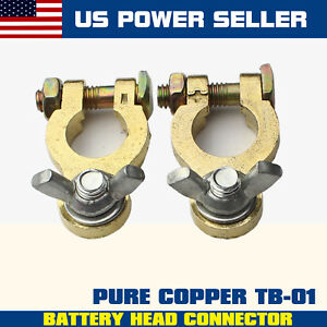Pair Wing Nut Style Marine Battery Terminal Connector Copper Positive Negative