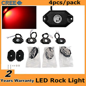 4pcs 9w Red Cree Led Rock Light Jeep Offroad Truck Under Body Trail Rig Light 2