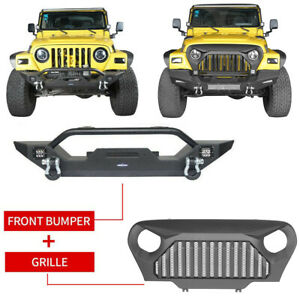 Front Black Angry Bird Grille Bumper W winch Plate For Jeep Wrangler Tj 97 06