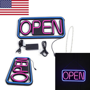 High Visible Led Open Sign Rectangular Hang Neon Light Motion Bar Outdoor Switch