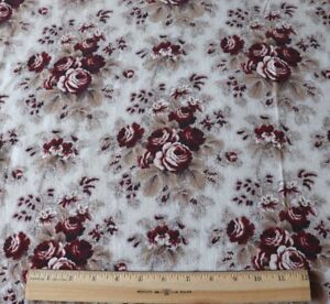 Antique French Old Roses Picotage Cotton Chintz Fabric L 29 X W 31