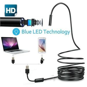 2 In 1 Usb Endoscope Borescope Inspection Snake Camera 6 Led For Mac Os Android