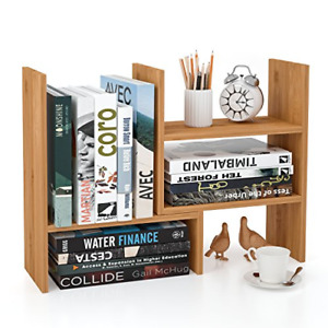 Homfa Bamboo Desk Storage Organizer Adjustable Desktop Display Shelf Rack For