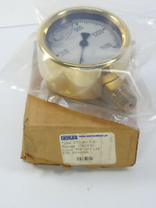 Wika Preasure Gauge 213 40 2 5 Range 1500 Psi P n 9310789 Brass Case 1 4 Npt