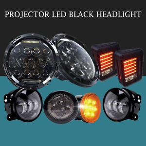 For Jeep Wrangler Jk 7 Led Headlight Fog Turn Signal Light Tail Light Combo Kit