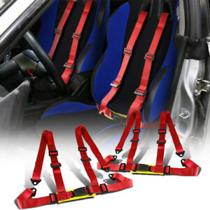 Car Vehicle Adjustable 4 Point Racing Sport Safety Harness Seat Belt Universal