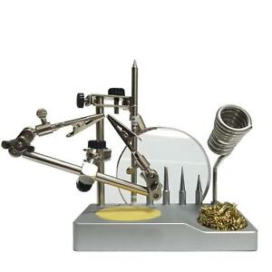 Helping Hands Magnifying Glass Soldering Iron Stand Tip Holder Cleaning Wire New