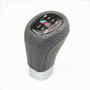 Gear Shift Knob M Sport Pu Leather 6 Speed For Bmw 1 3 E81 E82 E90 E91 E92