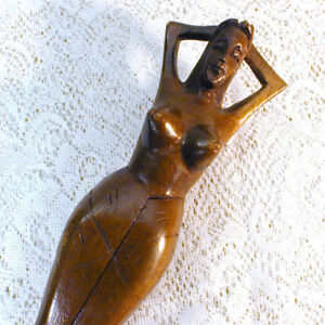 Vintage Risque Hawaiian Girl Woman Carved Wood Nut Cracker