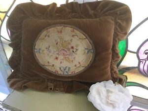 Antique Vtg Victorian Pillow Velvet With Petit Point Needlepoint W French Trim