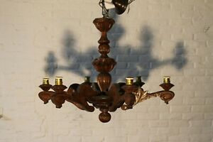 Fantastic 6 Light Antique French Wood Carved Fixture Chandelier Castle L96