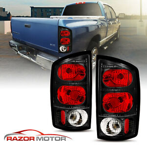 2002 2005 Replacement Black Euro Tail Light Pair Set Dodge Ram 1500 2500 3500
