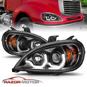 2005 2013 Black Projector Led Bar Style Headlight Pair Freightliner Columbia