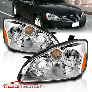 2005 2006 Chrome Headlight Pair For Nissan Altima 4 Door Sedam With Bulbs