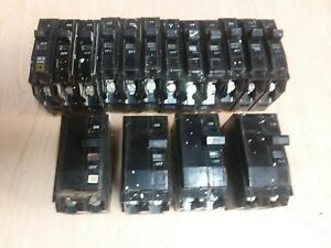 Lot Of 16 Square D Qo Single And Double Pole 15 Amp 50 Amp Circuit Breakers
