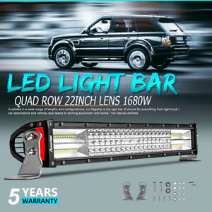 Quad Row 22inch 1680w Cree Lens Led Light Bar Spot Flood Offroad Truck Suv Vs 32