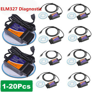 1 20pcs Elm327 Usb Interface Obdii Diagnostic Car Fault Scanner Code Reader Hm