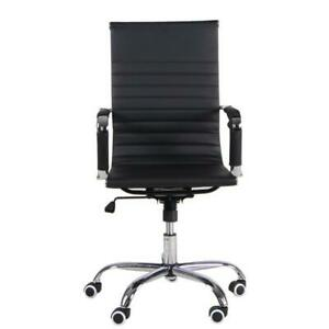 Black Office Task Chair Ribbed Leather Rolling Swivel Mid Back Computer Desk