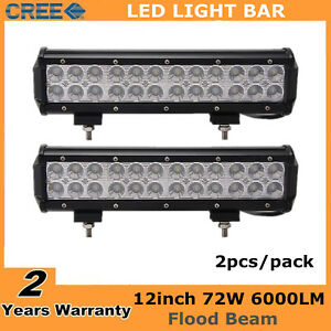 2x 12inch 72w Led Work Light Bar Flood 4x4wd Ford Driving Fog Offroad Truck Ute