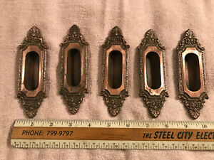 5 Ornate Victorian Cast Iron Pocket Door Pulls Copper Wash Finish Free S H