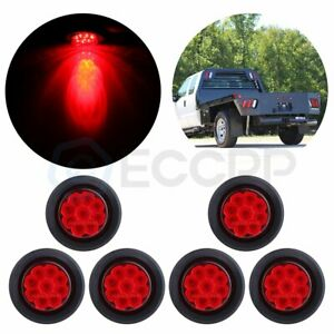 6x 2 Red 9led Side Marker Clearance Tail Light Round For Truck Trailer