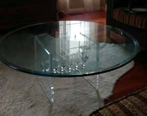 Modernist Stacked Lucite Acrylic Round Coffee Table With Glass Top