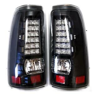 For 03 07 Chevy Silverado Gmc Sierra Clear Lens Led Tail Lights Brake Lamps Pair