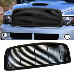 For 02 05 Dodge Ram 1500 2500 3500 Black Billet Front Hood Bumper Grill Grille