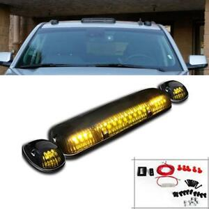 3pcs Smoke Cab Roof Running Amber Led Light For 02 07 Chevy Silverado Gmc Sierra