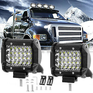 Pair 4inch 560w Led Work Light Pod Spot Flood Combo Driving Lamps For Jeep Ford