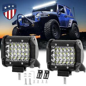 2x 480w Cree Led Work Lights Pods Spot Offroad Lamp For Atv Jeep Ute 4 Cube