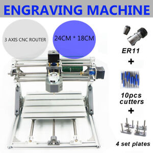 Mini Diy Cnc 2418 W Er11 Router Kit Wood Carving Engraving Pcb Milling Machine