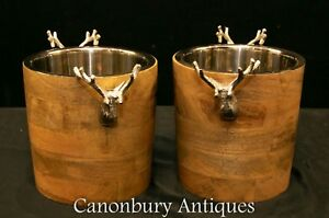 Stag Antler Wine Coolers Silver Plate Champagne Buckets