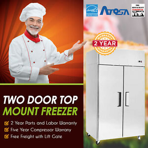 Atosa Usa Mbf8002 52 Two Door Solid Door Reach in Freezer Restaurant Equipment