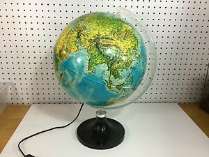 Vintage 12 Globe Lamp 1982 Nova Rico Italy Illuminated Earth Night Light