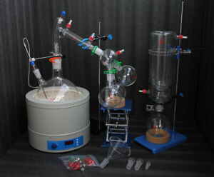 Glass Short Path Distillation Kit With Cold Trap magnetic Heating Mantle 5l 220v