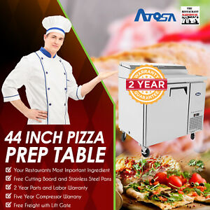 Atosa Mpf8201 44 One Door Refrigerated Pizza Prep Table Restaurant Equipment
