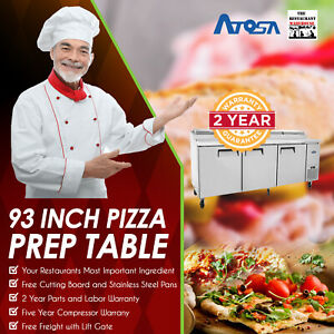 Atosa Mpf8203 93 Three Door Refrigerated Pizza Prep Table Restaurant Equipment