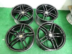 2013 2016 Porsche 991 Carrera Narrow Body Factory Oem 19 Wheels Rims Black 911