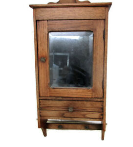 Vintage Ornate Wooden Oak Kitchen Apothecary Wall Cabinet Beveled Glass Mirror